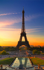 Eiffel Tower at Sunset, with reflection in reflection pool