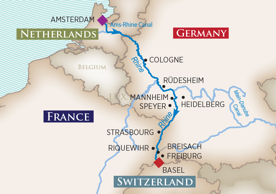 Itinerary map of Captivating Rhine (Amsterdam to Basel)