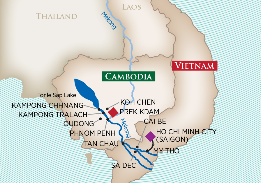 Itinerary map of Charms of the Mekong (Ho Chi Minh City to Prek Kdam)>