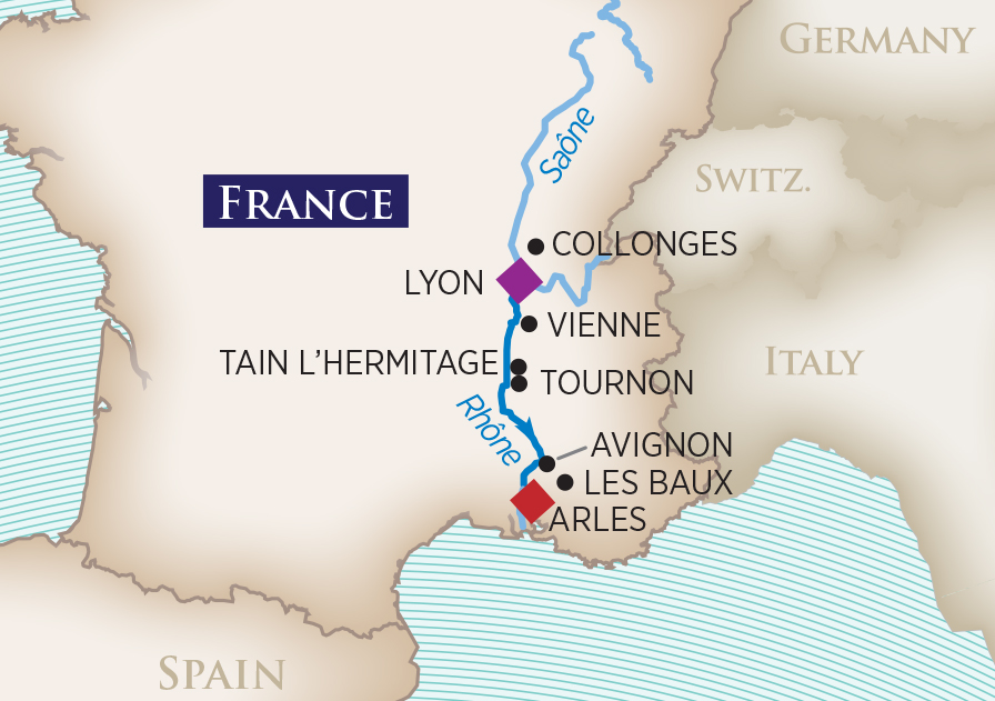 Itinerary map of Colors of Provence (Arles to Lyon)