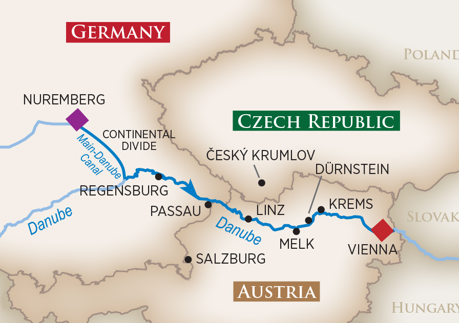 Itinerary map of Danube Serenade (Nuremberg to Vienna)
