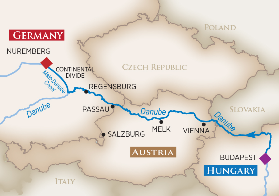 Itinerary map of Iconic Christmas Markets (Nuremberg to Budapest)