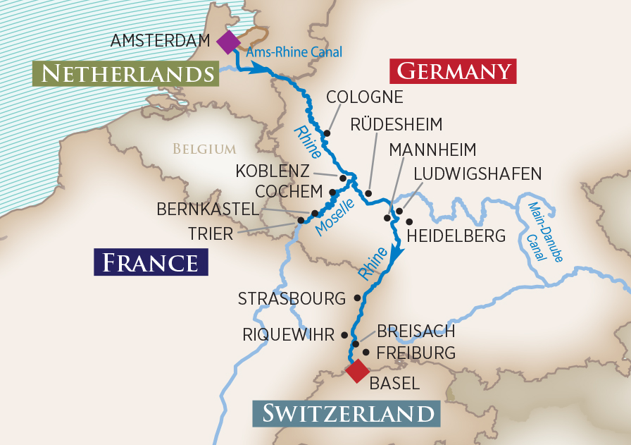 Itinerary map of Rhine & Moselle Fairytales (Amsterdam to Basel)